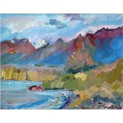 """""""Issyk Kuyl"""" oil in impressionism style. #2390691"""
