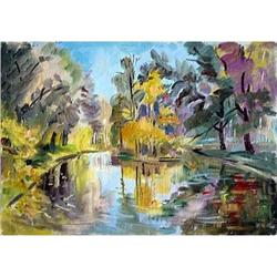 """""""Sokolniki. A pond"""" oil in impressionism style.#2390694"""