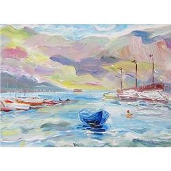 """Dark Blue Boat"" oil in impressionism style. #2390698"