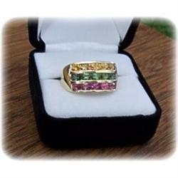 Estate 14k Green, Pink, Yellow Tourmaline Band #2390712