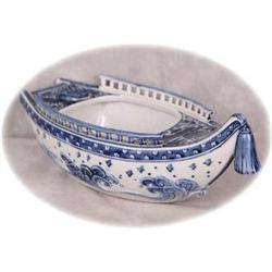 Kutani Blue & White Boat Centerpiece Bowl #2390714