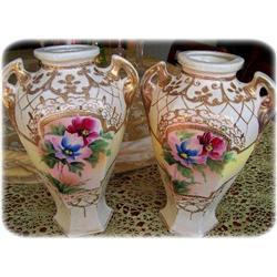 Satsuma Glazed Moriage Matched Urn Pair #2390718