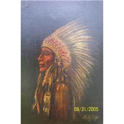 1931 Native American Indian Chief Painting  #2390723