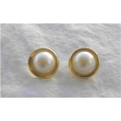 14kt Yellow Gold & Pearl Earrings #2390725