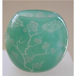 Acid Cut Steuben Jade Vase In Matsu Pattern #2390731