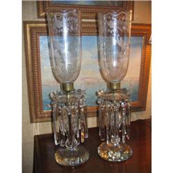 American, 19thc cut-glass candlesticks 24 H #2390732