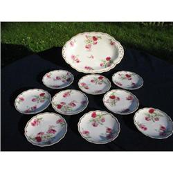 EARLY LIMOGES PINK ROSES  ICE CREAM SET #2390769