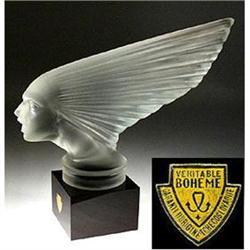 VINTAGE GLASS HOOD ORNAMENT CAR MASCOT VICTOIRE#2390785