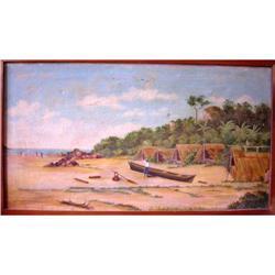 "Brazilian School Oil Painting, ""Santos Beach"" #2390800"
