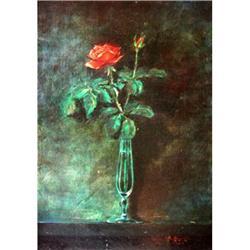 De Miccolis Oil On Canvas Painting, The rose #2390802