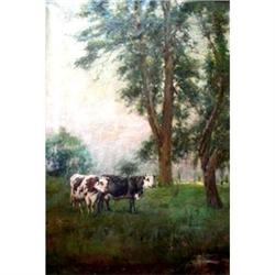 Signed as Julien Dupré Oil on Canvas Painting #2390809