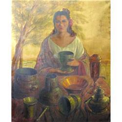 Amazing Cuenca Muñoz Oil Painting, Cocinera #2390816