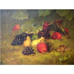 "Rare Emilie Preyer's Oil Painting, ""Fruits"" #2390819"