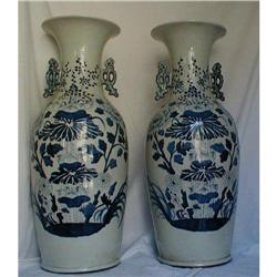 "BLUE AND WHITE 24""(61CM) CHINESE VASES #2390882"