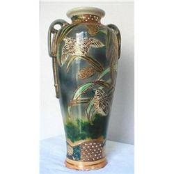 JAPANESE POTTERY VASE 15 Inches MORIAGE 19th #2390884
