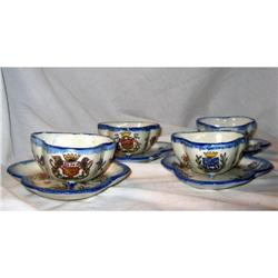 FRENCH CUPS SAUCERS 8 PIECES  ARMORIAL,NEVERS #2390887