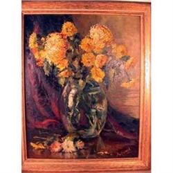 CHRYSANTHEMUM STILL LIFE OIL, signed KOEHL #2390888