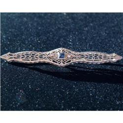 Antique 14K WG, Ceylon Sapphire Diamond Bar Pin#2390895