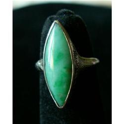 Jade Ring 18K WG Chinese, Pre-WW II, Marquise #2390896