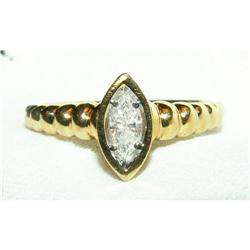 Marquise Diamond Solitaire 14K Y Gold Rope Ring#2390898