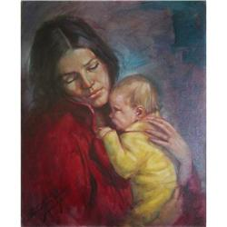 ORIG OIL PAINTING PORTRAIT MOTHER AND CHILD #2390907