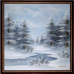 ORIG OIL PAINTING SNOWSCAPE W SPRUCE #2390909