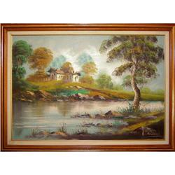 ORIG OIL PAINTING NATURESCAPE STREAM AND #2390911