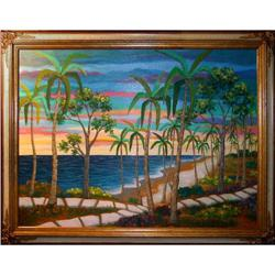 ORIG PAINTING TROPICAL ISLAND GARDEN BEACHSCAPE#2390912