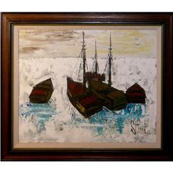 ORIG OIL PAINTING IMPRESSIONISTIC BOATS #2390915