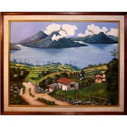 ORIG PAINTING VOLCANO LANDSCAPE IN GUATEMALA #2390916
