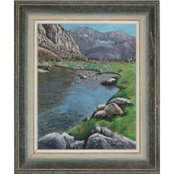 ORIG OIL PAINTING OF LAKE NEAR DA CANADA, CA #2390917