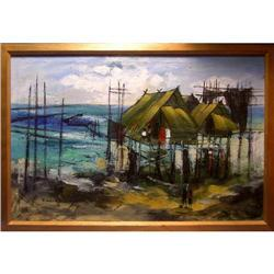 ORIG OIL PAINTING THAILAND SEASHORE VILLAGE  #2390918
