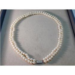 14K Gold Pearl Pearls Double Strand Necklace #2391140