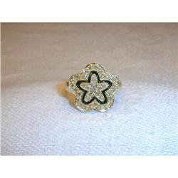 Estate 14K Gold Pave Diamond Enamel Star Ring #2391141