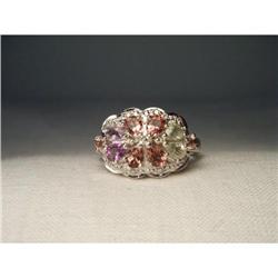 14K Diamond Tourmaline Amethyst Sapphire Ring #2391142