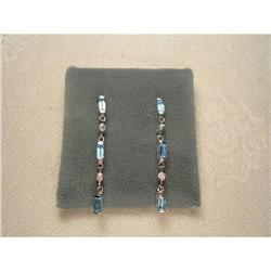 Estate 14K YG Blue Topaz Diamond Onyx Earrings #2391143