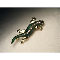 14K Black Gold Diamond Enamel Lizard Brooch #2391145