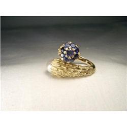 Estate 14K YG Gold Sapphire Pearl Flower Ring #2391146