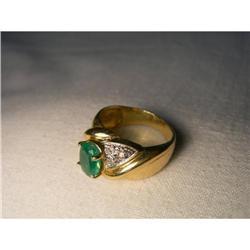 Estate 14K YG Gold Emerald Diamond Band Ring #2391147
