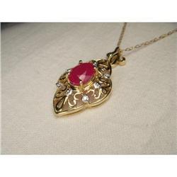 14K YG Filigree Ruby Diamond Necklace Pendant #2391148