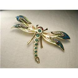 14K YG Ruby Emerald Diamond Dragonfly Brooch #2391149