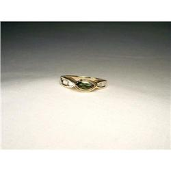 14K Filigree Green Tourmaline Diamond Ring Band#2391150