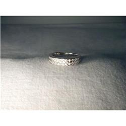 18K WG Gold 2 Row Diamond Wedding Ring Band #2391151