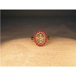 Estate 14K 10K Gold Filigree Ruby Diamond Ring #2391153