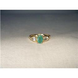 Estate 14K YG Emerald Aquamarine 3-Stone Ring #2391154