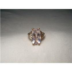 14K Pink Rose Gold Diamond Pink Amethyst Ring #2391155