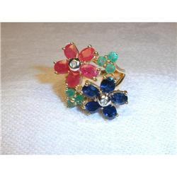 Estate 14K Ruby Emerald Sapphire Diamond Ring #2391156