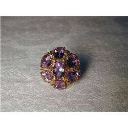 Estate 14K YG Gold Amethyst Floral Flower Ring #2391157