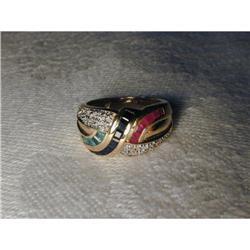 Estate 14K Ruby Sapphire Emerald Diamond Ring #2391158