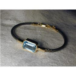 14K 2-Tone Cable Blue Topaz Bangle Bracelet #2391160